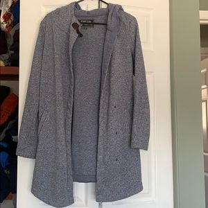 Hooded long sweater - button front